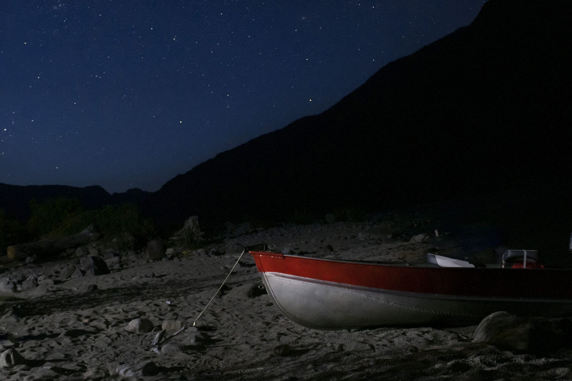 Night sky over Chehalis Lake Shore with boat, July 10, 2021